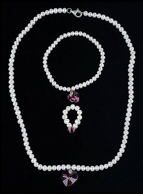 Vintage Fresh Water Pearl Necklace,bracelet & Ring Set With Dark Pink Ice Heart