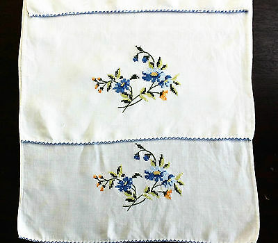 Vintage Set 2 Quality Linen Handmade Cross Stitch Tea Towels