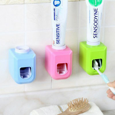 Bathroom Automatic Toothpaste Wall Adhensive Holder Toothbrush Dispenser