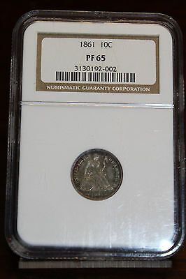 Rare 1861 Proof Seated Liberty Dime 10C NGC PF 65 Approx 400 Net Mintage