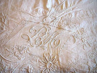Antique Linen Sheet 2 Shams Hand Embroidered Trousseau European Bed Cover Set