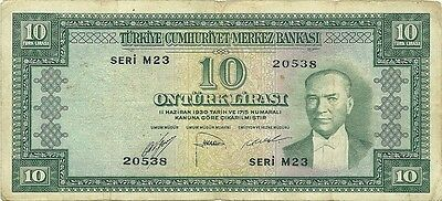 Turkey 10 Lira 1952 Issue ~ P-157 ~ Scarce Type Ataturk Portrait & Watermark