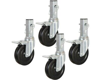 Locking Caster Wheel H.D. Hard Rubber Rolling Scaffold Multi-Use (4-pack caster