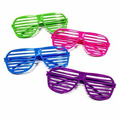 80's Party Shutter Shades Sunglasses for Kids & Adults - 12 Pairs