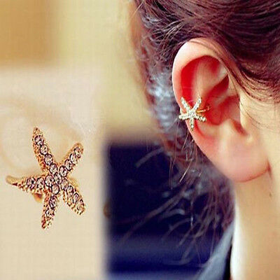 New Womens Personality Crystal Starfish Charm Ear Clip Cuff Earring Stud Jewelry