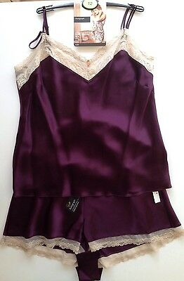 M&S PURPLE Silk Camisole & French Knickers UK 12 Rosie Autograph RRP £55 BNWT