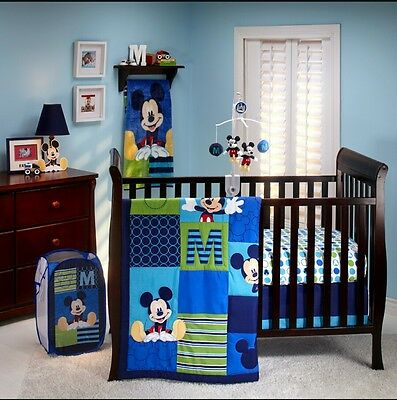New Disney Baby M Is For Mickey 3-Piece Crib Bedding Set+Mickey Mouse Wall Decor