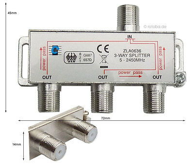 Sat-Verteiler, Y-Splitter, Antennenverteiler, Koax, TV 3-way Spliter, #636