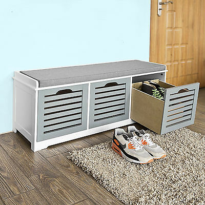 SoBuy® Storage Bench with 3 Drawers, Shoe Cabinet with Seat Cushion, FSR23-HG,UK