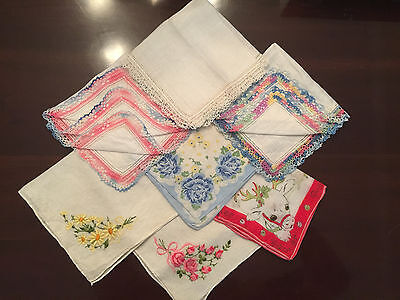 Lot Of 7 Vintage Hand Embroidered Handkerchiefs