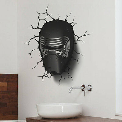 Fashion New Gifts 3D Star Wars Darth Vader 3D Led Wall Light With Crack Stickers