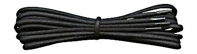 Shoelaces - Small Round Waxed Cotton Laces - Black - 45 cm to 120 cm