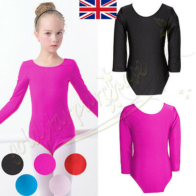Girls Uniform Leotard Stretchy Dance Gymnastics Ballet Long Sleeve Top Leotards