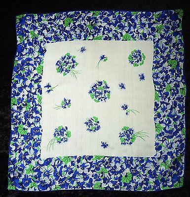 Vintage Glentex Silk Handkerchief~Pocket Square~Beautiful Blue Floral Design