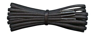 3 mm Black round waxed cotton shoe laces - 45 cm - 120 cm for shoes and boots