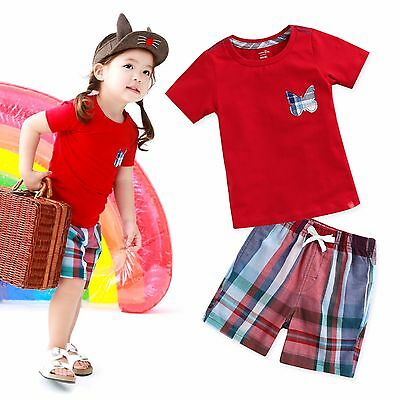 "Vaenait Baby Kids Girls Boys Clothes Short Outfit set ""Butterfly Red"" 12M-7T"