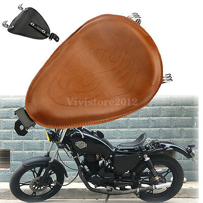 Universal Flame Brown Leather Seat Solo Springs Bracket For Harley Honda Yamaha