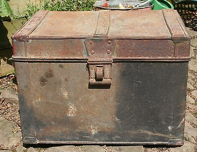 Vintage Metal Twin Handled Cabin Trunk or Storage Box Container