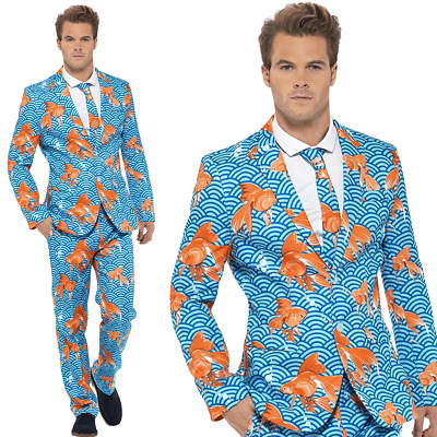 Mens Stand Out Suit Goldfish Stag Do Party New Comedy Fancy Dress Costume Outfit