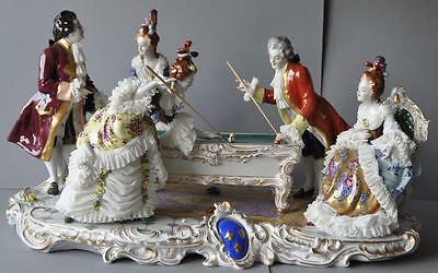 "Gorgeous German Dresden Lace Volkstedt Figural Group ""The Game of Billiards"""