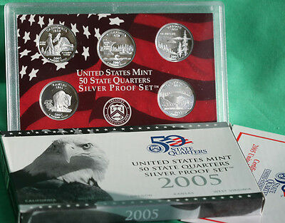 2005 SILVER State QUARTER Proof 5 Coin Set Box & COA US Mint Statehood 25 Cents