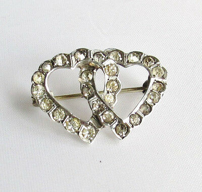 Old antique Edwardian solid silver paste double heart entwined brooch