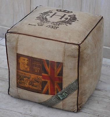 Canvas Square Cubed Pouffe / Footstool - 40cm - Leather Edged - Union Jack