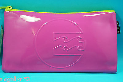 BILLABONG School Fluro Pink Pencil Case Cosmetics Travel Bag Boys Girls NEW