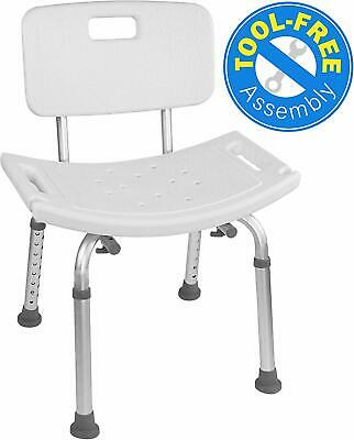 Tool-Free Assembly Bath Adjustable Shower Chair Seat Bench with Removable Back