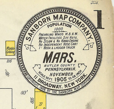 Mars, Pennsylvania~Sanborn Map© sheets made 1905, 1911 CD~5 maps in full color