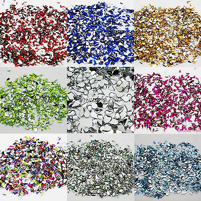 1000 Drop Shaped Rhinestones 1.5mm x 3mm Acrylic Gems Flat silver back craft