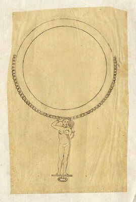 Set of Three Late 19th Century Pen and Ink Drawing - Hand Mirror Designs