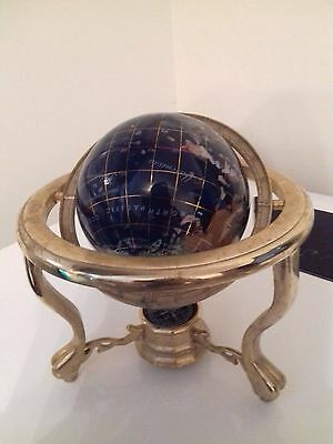 "Large 13"" Blue Gemstone Globe Semi Precious Stones On Brass Stand With Compass"