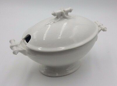 Antique John Maddock & Sons White Ironstone Lidded Soup Tureen