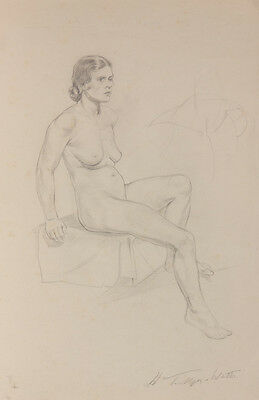 Harold Tamblyn-Watts - Mid 20th Century Graphite Drawing, Seated Nude