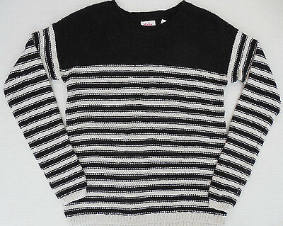 NEW Justice girls black white striped long sleeve sweater size 8 or 10 NWT
