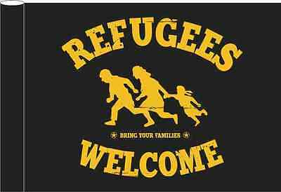 Refugees Welcome Flagge Schwarz