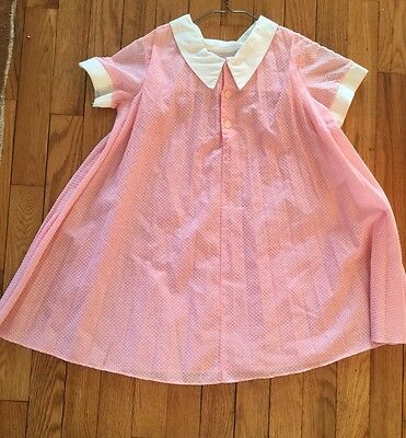 "Young Girls Vintage Summer Dress Pink Dotted Swiss....12"" Shoulders"