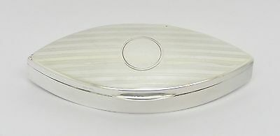 Beautiful Rare Navette-Shaped Solid Sterling Silver Snuff Pill Box Hm 1920