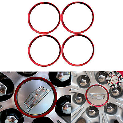 4x Red Car Wheel Rim Center Hub Caps Decor Ring Covers Stickers for Cadillac SRX