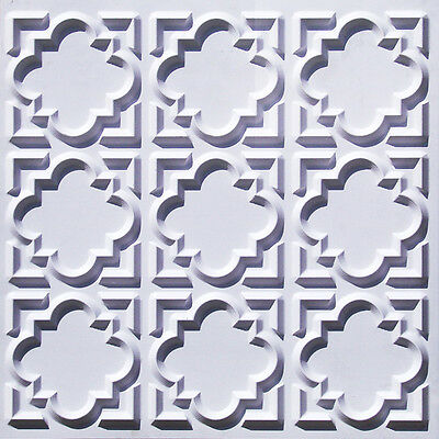 #142 (Lot of 25)  White Matt PVC Faux Tin Decorative Ceiling Tile Panels Glue-Up