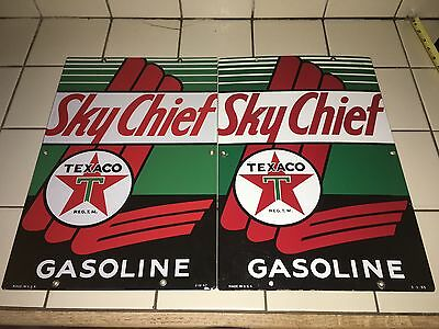 1947 & 1953 VinTage TEXACO SKY CHIEF Gas Pump Plates Station PORCELAIN Sign Oil