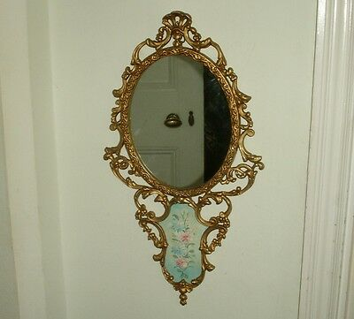 Old Vintage Victorian Style Italian Florentine Gold Mirror Oil Painting Rococo