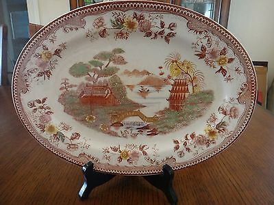 Oriental Gardens Large Oval Platter & Bowl Gaudy Blue Willow Brown & Ritchie