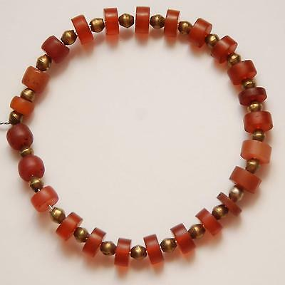 ANTIQUE AFRICAN Brass Bicone Beads + Carnelian Glass Beads