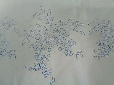 """Stamped Needlework 2 Pillowcases 42x32"""" White Cotton Poly Floral Print Unhemmed"""
