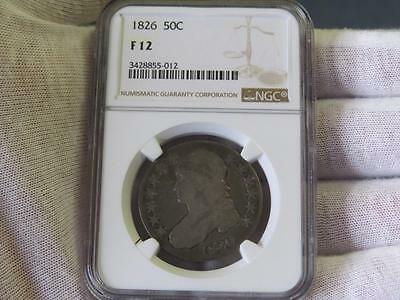 1826 Capped Bust Silver Half Dollar 50c - NGC F12 – Nice!