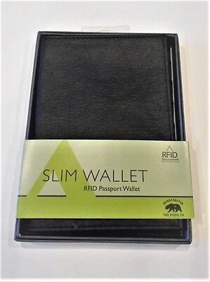 Allett Slim Leather RFID Passport Wallet, Black
