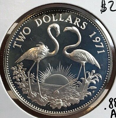 1971 Bahamas Silver $2 Proof Coin. Huge Collector Coin For Your Collection