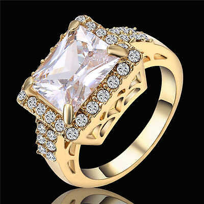White CZ Vintage Big Square Stone Engagement Ring 18K Yellow Gold Filled Size 7